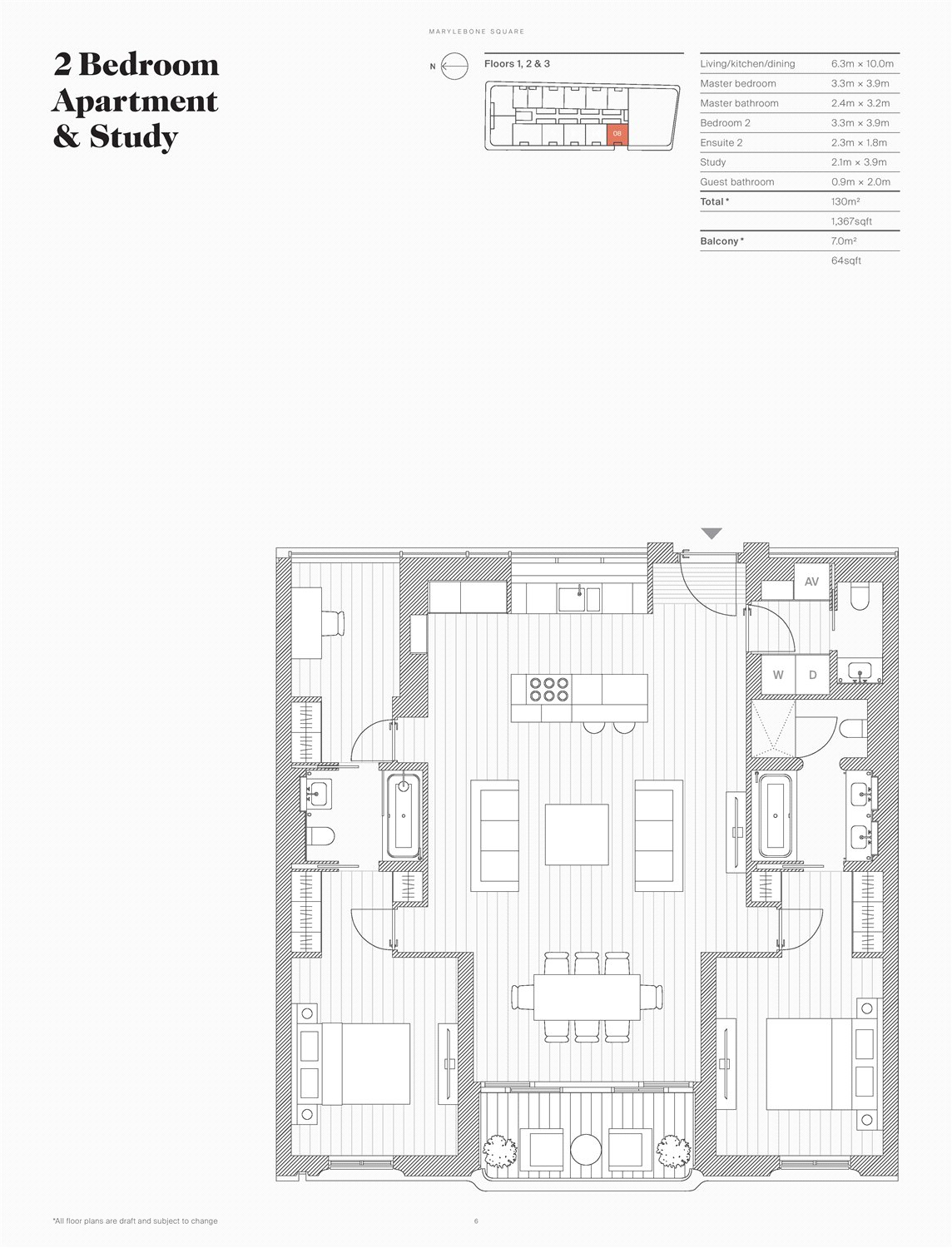 Floor Plan of Marylebone Square, London, W1U